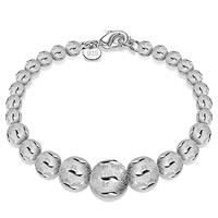 Messing Armband, rund, versilbert, abgestufte Perlen & Blume Schnitt & satiniert, frei von Blei & Kadmium, 12mm, verkauft per ca. 7 ZollInch Strang