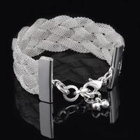 Messing Armband, versilbert, frei von Blei & Kadmium, 25mm, verkauft per ca. 8 ZollInch Strang