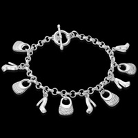 Messing Armband, versilbert, Armband  Bettelarmband, frei von Blei & Kadmium, 14mm, verkauft per ca. 8 ZollInch Strang