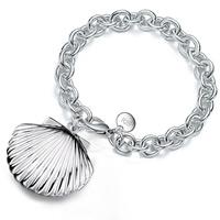 Messing Locket-Armband, mit Verlängerungskettchen von 5cm, Schale, versilbert, Oval-Kette, frei von Blei & Kadmium, 23x22mm, verkauft per ca. 8 ZollInch Strang