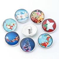 """Schaltfläche """"Chunk"""", Zinklegierung, mit Glas, Platinfarbe platiniert, Zeit Edelstein Schmuck & Weihnachtsschmuck & gemischt & Aufkleber, frei von Blei & Kadmium, 18mm, 10PCs/Tasche, verkauft von Tasche"""