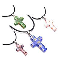 Murano Millefiori Lampwork Halskette, mit Gummiband & Messing, Kreuz, Platinfarbe platiniert, für Frau, keine, 18x28x4mm, 1.5mm, Länge:ca. 18 ZollInch, 12SträngeStrang/Menge, verkauft von Menge