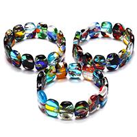 Lampwork Armbänder, für Frau, gemischte Farben, 12.50x17.50x4.50mm, Länge:ca. 7.5 ZollInch, 3SträngeStrang/Menge, verkauft von Menge