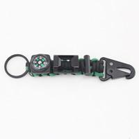 Paracord Karabiner mit Schlüsselringen, mit Eisen Ring & Glas & Kunststoff, mit Kompass & mit Flaschenöffner, 130mm, Bohrung:ca. 25mm, 5PCs/Tasche, verkauft von Tasche