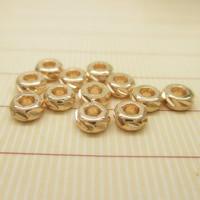 24K Gold Perlen, Messing, Rondell, 24 K vergoldet, frei von Blei & Kadmium, 4x2mm, Bohrung:ca. 1-2mm, 10PCs/Tasche, verkauft von Tasche