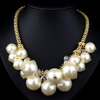 ABS-Kunststoff-Perlen Halskette, mit Kristall & Eisen, mit Verlängerungskettchen von 8cm, rund, goldfarben plattiert, Laterne Kette & facettierte, 480mm, verkauft per ca. 18.5 ZollInch Strang