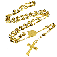 Edelstahl-Strickjacke-Kettenhalskette, Edelstahl, Jesus Kreuz, goldfarben plattiert, Christ/ Christin Schmuck & für Frau, 4.5x6x6mm, 15x20x2.5mm, 21.5x30x3.5mm, verkauft per ca. 26 ZollInch Strang