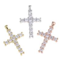 Befestigter Zirkonia Messing Anhänger, Kreuz, plattiert, Micro pave Zirkonia, keine, frei von Nickel, Blei & Kadmium, 15x24x3mm, Bohrung:ca. 2.5x1mm, verkauft von PC