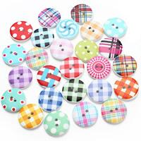 Holz Zweilochknöpfe, flache Runde, Kunstdruck, gemischtes Muster & mit Bemaltung, 20mm, Bohrung:ca. 1.5mm, 50PCs/Tasche, verkauft von Tasche