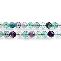 grüner Fluorit Perle, rund, natürlich, verschiedene Größen vorhanden & facettierte, Bohrung:ca. 0.7-1mm, verkauft per ca. 15 ZollInch Strang