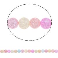 Knistern Glasperlen, Glas, rund, farbenfroh, 8mm, Bohrung:ca. 1mm, Länge:ca. 15.5 ZollInch, 5SträngeStrang/Tasche, ca. 50PCs/Strang, verkauft von Tasche