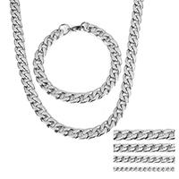 Verfeinern Edelstahl-Schmuck-Sets, Armband & Halskette, Edelstahl, verschiedene Größen vorhanden & Kandare Kette, originale Farbe, Länge:ca. 24 ZollInch, ca. 8 ZollInch, verkauft von setzen