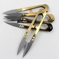 Schere, Eisen, goldfarben plattiert, frei von Blei & Kadmium, 105mm, 10PCs/Tasche, verkauft von Tasche