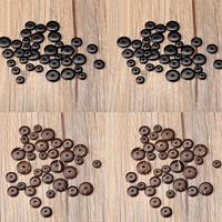 Spacer Perlen Schmuck, Kokosrinde, flache Runde, verschiedene Größen vorhanden, keine, Bohrung:ca. 1mm, 100PCs/Tasche, verkauft von Tasche