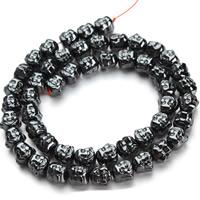 Buddhistische Perlen, Non- magnetische Hämatit, Buddha, buddhistischer Schmuck, schwarz, 7x8mm, Bohrung:ca. 1mm, ca. 50PCs/Strang, verkauft per ca. 15.5 ZollInch Strang