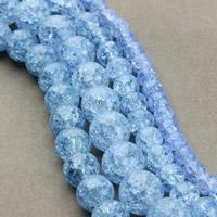 Knistern Glasperlen, Glas, rund, verschiedene Größen vorhanden, blau, Bohrung:ca. 1mm, verkauft per ca. 15.5 ZollInch Strang