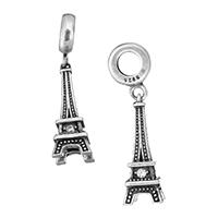 Thailand European Anhänger, Eiffelturm, Micro pave Zirkonia & ohne troll, 8x20.5x8mm, 31mm, Bohrung:ca. 4mm, verkauft von PC