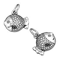 Bali Sterling Silber Anhänger, Thailand, Fisch, 14x14x5mm, Bohrung:ca. 4mm, verkauft von PC