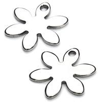 Edelstahl -Blumen-Anhänger, originale Farbe, 17mm, Bohrung:ca. 2mm, 20PCs/Tasche, verkauft von Tasche