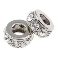 316 Edelstahl European Perlen, Rondell, ohne troll & mit Strass, 5x11mm, Bohrung:ca. 5mm, verkauft von PC