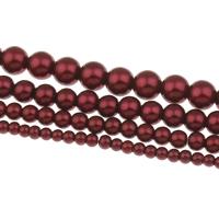 Perlmuttartige Glasperlen, rund, verschiedene Größen vorhanden, dattelrot, Bohrung:ca. 1mm, Länge:ca. 31.5 ZollInch, verkauft von Tasche