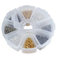 Eisen Ringöse, mit Kunststoff Kasten, Blume, plattiert, transparent & 8 Zellen, gemischte Farben, frei von Blei & Kadmium, 5x12mm, Bohrung:ca. 1.5mm, ca. 800PCs/Box, verkauft von Box