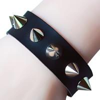 Unisex-Armband & Bangle, PU Leder, mit Zinklegierung, Platinfarbe platiniert, mit Nietstollen & einstellbar, frei von Nickel, Blei & Kadmium, 19mm, verkauft per 8.6 ZollInch Strang