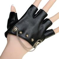 Handschuhe, PU Leder, mit Zinklegierung, Platinfarbe platiniert, Gotik & für Frau, frei von Nickel, Blei & Kadmium, 100x85mm, verkauft von PC