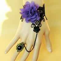 Gothic -Armband-Ring, Spitze, mit Chiffon & Glas & Zinklegierung, mit Verlängerungskettchen von 2.7lnch, plattiert, einstellbar & für Frau & facettierte, frei von Nickel, Blei & Kadmium, Größe:6, verkauft per ca. 5.1 ZollInch Strang