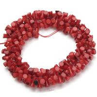 Natürliche Korallen Perlen, Knochen, rot, 4x8mm, Bohrung:ca. 1mm, ca. 150PCs/Strang, verkauft per ca. 15.5 ZollInch Strang