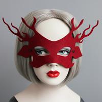 Fashion Party Maske, Filz, mit Satinband, Weihnachtsschmuck, rot, 56mm, verkauft von PC