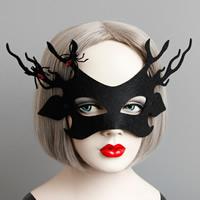 Fashion Party Maske, Filz, mit Satinband & Harz, Halloween Schmuck & facettierte, schwarz, 60mm, verkauft von PC