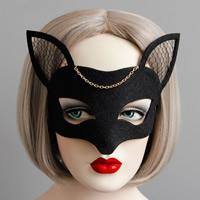 Fashion Party Maske, Filz, mit Eisenkette & Spitze & Satinband, goldfarben plattiert, Halloween Schmuck, schwarz, frei von Nickel, Blei & Kadmium, 63mm, verkauft von PC