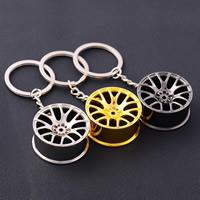 Zinklegierung Schlüssel Verschluss, mit Eisen Ring, Rondell, plattiert, hohl, gemischte Farben, frei von Blei & Kadmium, 90x35x17mm, Bohrung:ca. 25mm, verkauft von PC
