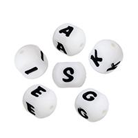 Silikon-Perlen, Silikon, FDA-Zulassung & verschiedene Muster für Wahl & mit Brief Muster & vierseitig, 16x12x12mm, Bohrung:ca. 2.4mm, 10PCs/Menge, verkauft von Menge