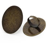 Messing Ringschiene, flachoval, antike Bronzefarbe plattiert, einstellbar, frei von Nickel, Blei & Kadmium, 32x42mm, Innendurchmesser:ca. 30x40mm, 10PCs/Tasche, verkauft von Tasche