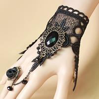 Gothic -Armband-Ring, Spitze, mit Satinband & Kristall & Zinklegierung, mit Verlängerungskettchen von 2.7lnch, plattiert, für Frau & facettierte, frei von Nickel, Blei & Kadmium, Größe:6, verkauft per ca. 5.1 ZollInch Strang