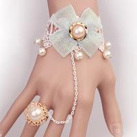 Art- und Weisearmband-Ring, Spitze, mit Glasperlen & Zinklegierung, mit Verlängerungskettchen von 2.7lnch, plattiert, für Frau, frei von Nickel, Blei & Kadmium, Größe:6, verkauft per ca. 5.1 ZollInch Strang