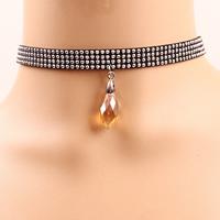 Gothic Halskette, Wollschnur, mit Kristall & Zinklegierung, mit Verlängerungskettchen von 1lnch, Platinfarbe platiniert, für Frau & facettierte, frei von Nickel, Blei & Kadmium, verkauft per ca. 11.8 ZollInch Strang