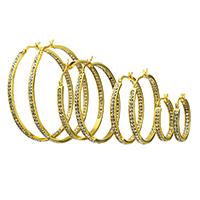 Herren Edelstahl Kreolen, goldfarben plattiert, verschiedene Größen vorhanden & mit Strass, verkauft von Paar