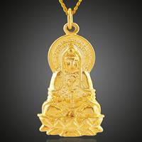 Buddhische Schmuck Anhänger, Messing, Kuan Yin, 18 K vergoldet, buddhistischer Schmuck, frei von Blei & Kadmium, 14.7x32.7mm, Bohrung:ca. 3-5mm, 6PCs/Tasche, verkauft von Tasche