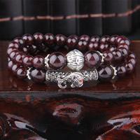 Granat Armband, mit Zinklegierung, synthetisch, Januar Birthstone & für Frau & mit Strass & 2 strängig, 8mm, verkauft per ca. 13.5 ZollInch Strang