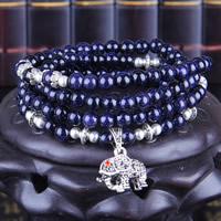blauer Goldsand Armband, mit Zinklegierung, Elephant, synthetisch, für Frau & 4-Strang & mit Strass, 6mm, verkauft per ca. 28 ZollInch Strang
