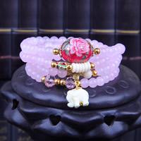 Rosenquarz Armband, mit Regen Blumen Stein & Kristall & Harz & Cloisonné & Zinklegierung, Elephant, synthetisch, für Frau & 4-Strang, 6mm, verkauft per ca. 27 ZollInch Strang