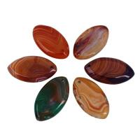 Spitze Achat Anhänger, Streifen Achat, Pferdeauge, gemischte Farben, 26x47x6mm-27x48x5mm, Bohrung:ca. 1mm, 5PCs/Tasche, verkauft von Tasche