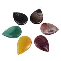 Spitze Achat Anhänger, Streifen Achat, Tropfen, gemischte Farben, 28x41x6mm-29x42x6mm, Bohrung:ca. 1mm, 5PCs/Tasche, verkauft von Tasche