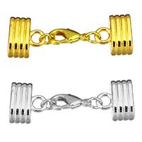 Messing Klaue Karabinerverschluss, plattiert, mit Endkappe, keine, frei von Nickel, Blei & Kadmium, 43mm, 13x15x9.5mm, Innendurchmesser:ca. 12x6.5mm, 30SetsSatz/Menge, verkauft von Menge