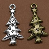 Zinklegierung Weihnachten Anhänger, Weihnachtsbaum, plattiert, Weihnachtsschmuck, keine, frei von Blei & Kadmium, 27x14mm, Bohrung:ca. 1.5mm, 100PCs/Tasche, verkauft von Tasche