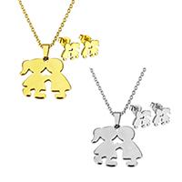 Edelstahl Schmucksets, Ohrring & Halskette, Paar, plattiert, Oval-Kette & für Frau, keine, 20x18.5x1.5mm, 1.5x2x0.5mm, 10x8.5x11.5mm, Länge:ca. 17.8 ZollInch, verkauft von setzen