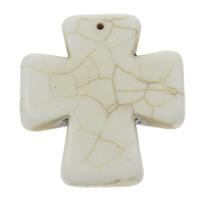 Türkis Anhänger, Synthetische Türkis, Kreuz, weiß, 42x46x7mm, Bohrung:ca. 1mm, 10PCs/Tasche, verkauft von Tasche